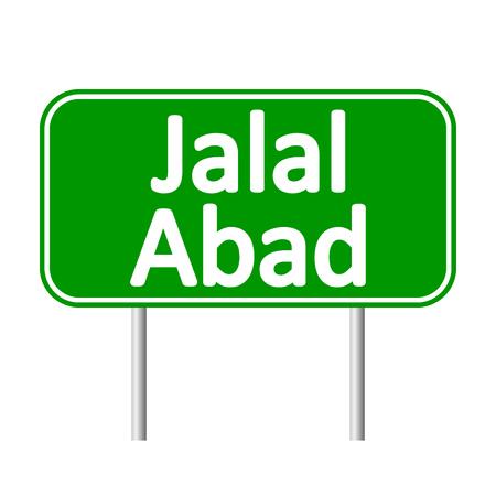 Jalal-Abad road sign isolated on white background.