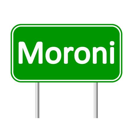 comores: Moroni road sign isolated on white background. Illustration