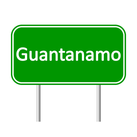 guantanamo: Guantanamo road sign isolated on white background. Illustration