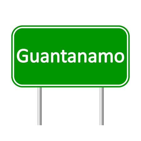 guantanamo: Guantanamo road sign isolated on white background. Illustration