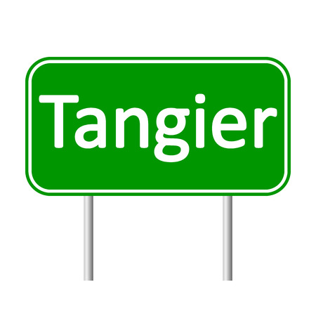 tangier: Tangier road sign isolated on white background. Illustration
