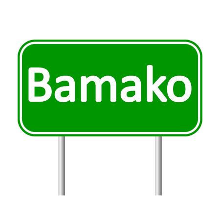 bamako: Bamako road sign isolated on white background.