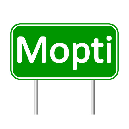 mali: Mopti road sign isolated on white background.