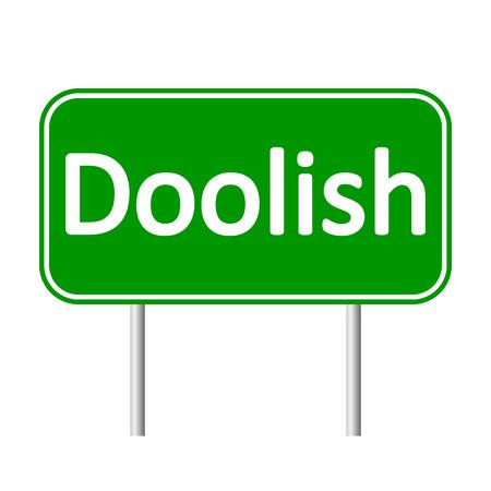 bailiwick: Doolish road sign isolated on white background. Illustration