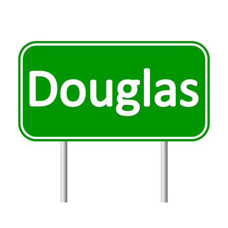 bailiwick: Douglas road sign isolated on white background.