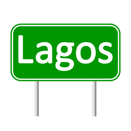 lagos: Lagos road sign isolated on white background.