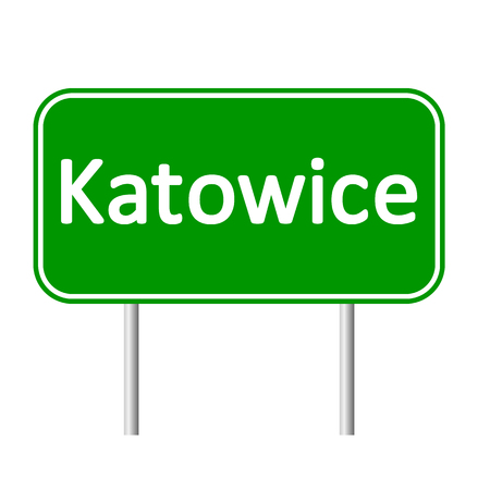 Katowice road sign isolated on white background.