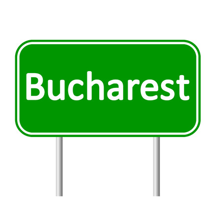 rumania: Bucharest road sign isolated on white background.