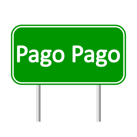 Pago Pago road sign isolated on white background. Illustration
