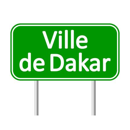dakar: Ville de Dakar road sign isolated on white background. Illustration