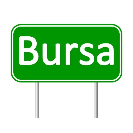 bursa: Bursa road sign isolated on white background.