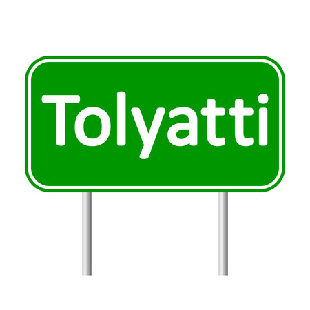 Tolyatti road sign isolated on white background.