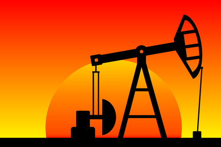 Oil pump silhouette at sunset. Vector illustration.