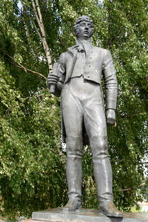 VOLOGDA, RUSSIA - 11 AUGUST 2016: Monument to the poet Konstantin Batyushkov was opened in 1987 on the banks of the Vologda River.
