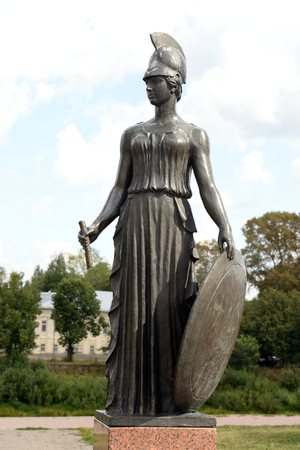 VOLOGDA, RUSSIA - 11 AUGUST 2016: War goddess Pallas Athena. Fragment of monument to the poet Konstantin Batyushkov was opened in 1987 on the banks of the Vologda River. Editorial