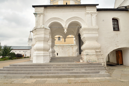 spassky: Porch of Spassky Cathedral in Saviour Priluki Monastery by cloud day near Vologda, Russia.
