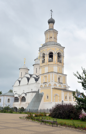 Spassky Cathedral with bell tower in Saviour Priluki Monastery by cloud day near Vologda, Russia.