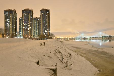 Microdistrict Ribatskoe at night on the outskirts of St. Petersburg, Russia. Stock Photo