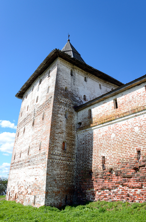 Fortress tower of Kirillo-Belozersky monastery by day near City Kirillov, Vologda region, Russia.