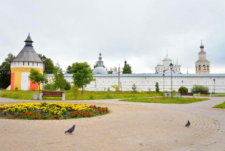 Fortress wall of of Saviour Priluki Monastery by cloud day near Vologda, Russia.