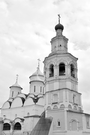 spassky: Spassky Cathedral with bell tower in Saviour Priluki Monastery by cloud day near Vologda, Russia. Black and white. Stock Photo