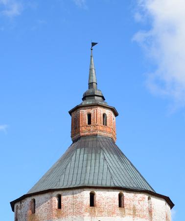 Fortress tower of Kirillo-Belozersky monastery by day near City Kirillov, Vologda region, Russia.