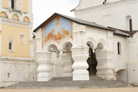 spassky: VOLOGDA, RUSSIA - 12 AUGUST 2016: Porch of Spassky Cathedral in Saviour Priluki Monastery by cloud day near Vologda, Russia.