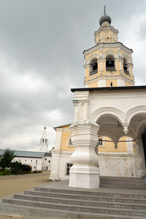 spassky: Spassky Cathedral with bell tower in Saviour Priluki Monastery by cloud day near Vologda, Russia.