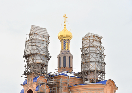 Church of the Intercession of the Holy Virgin in microdistrict Ribatskoe on the outskirts of St. Petersburg, Russia.