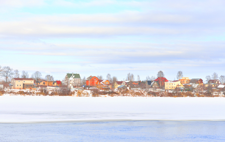 View of Neva River on the outskirts of St. Petersburg at sunny winter day, Russia.