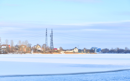 neva: View of Neva River on the outskirts of St. Petersburg at cloud winter day, Russia.