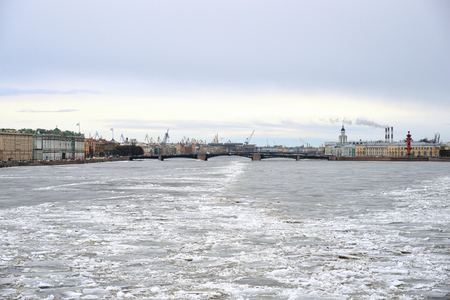 neva: View of Frozen Neva River in center of St.Petersburg at cloudy winter day, Russia. Stock Photo