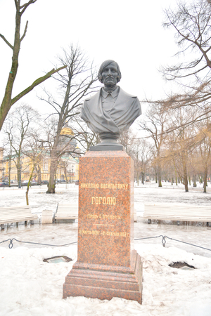 critic: ST.PETERSBURG, RUSSIA - 7 MARCH 2016: Monument of Nikolai Vasilyevich Gogol - Russian novelist, playwright, poet, critic, essayist, regarded as one of the classics of Russian literature. Editorial