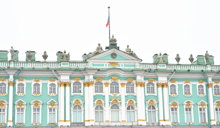 View of the Winter Palace at cloudy day in St.Petersburg, Russia. Editorial