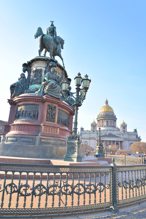 View of Saint Isaacs Cathedral and monument to Nicholas I in St.Petersburg, Russia.