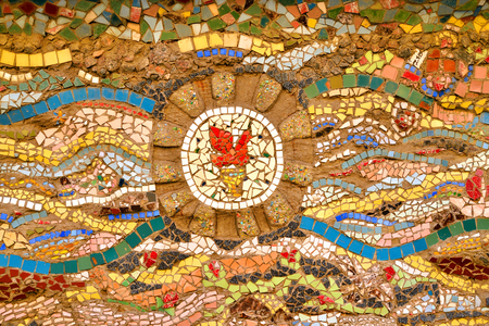 ST.PETERSBURG, RUSSIA - 27 MARCH 2016: Mosaic on the wall in the courtyard in center of St. Petersburg. Editorial