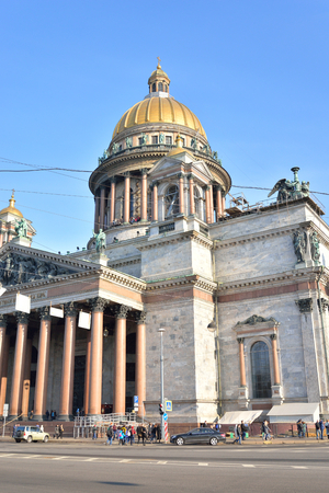 isaac: ST.PETERSBURG, RUSSIA - 27 MARCH 2016: St. Isaac Cathedral - the largest Orthodox temple of St. Petersburg. Located on St. Isaac Square.
