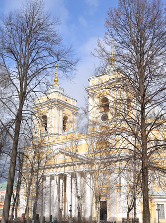 Trinity Cathedral of Alexander Nevsky Lavra, ancient monastery in Baroque style in center of St.Petersburg, Russia.