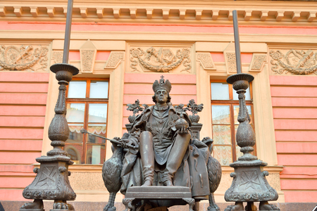petrovich: ST.PETERSBURG, RUSSIA - 23 MARCH 2016: Statue of Emperor Paul I in the courtyard of Mikhailovsky Castle. Black and white. Pavel Petrovich - Russian Emperor from November 6, 1796.
