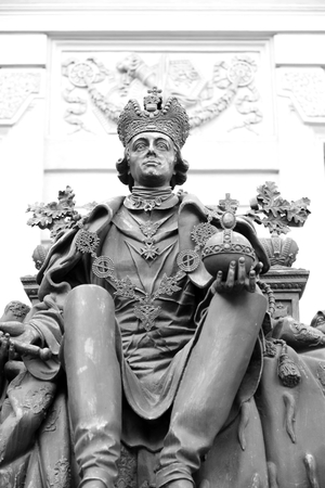 petrovich: ST.PETERSBURG, RUSSIA - 23 MARCH 2016: Statue of Emperor Paul I in the courtyard of Mikhailovsky Castle. Black and white. Pavel Petrovich - Russian Emperor from November 6, 1796. Black and white.