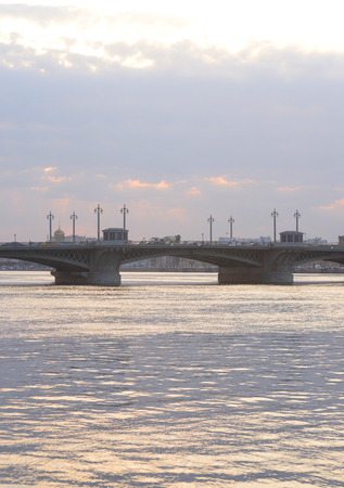 Annunciation bridge and Neva River at sunset in St.Petersburg, Russia.