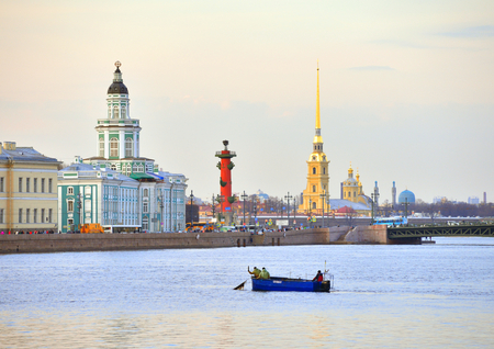 leningrad: University Embankment and the Neva River at evening in St.Petersburg, Russia.