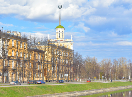 st petersburg: View of Kolpino town at spring sunny day on the outskirts of St. Petersburg, Russia. Stock Photo