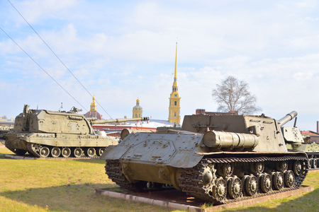 ST.PETERSBURG, RUSSIA - 17 APRIL 2016: Exposition in Military Historical Museum of Artillery, Engineers and Signal Corps.