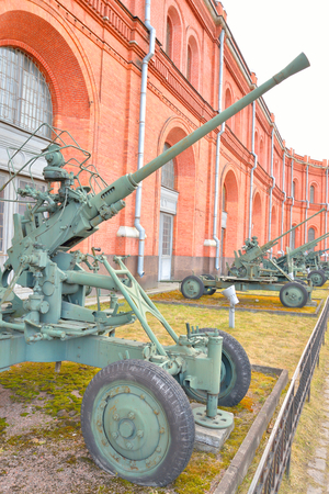 ST.PETERSBURG, RUSSIA - 17 APRIL 2016: 40mm anti-aircraft gun installation of 1936 year Bofors in Military Historical Museum of Artillery, Engineers and Signal Corps.