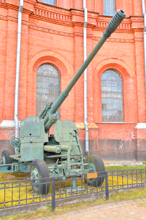 ST.PETERSBURG, RUSSIA - 17 APRIL 2016: 100mm anti-aircraft gun KS-19 in Military Historical Museum of Artillery, Engineers and Signal Corps.