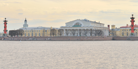 spit: View of Neva River and Spit of Vasilyevsky Island in center of St.Petersburg at cloudy spring evening, Russia.
