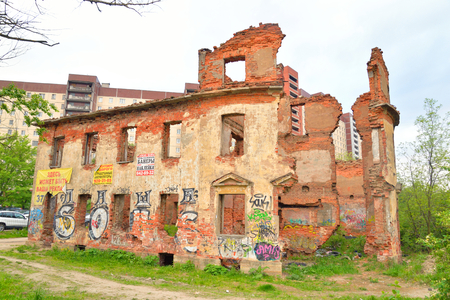 ST.PETERSBURG, RUSSSIA - 18 MAY, 2016: Old destroyed building in microdistrict Ribatskoe on the outskirts of St. Petersburg, Russia.