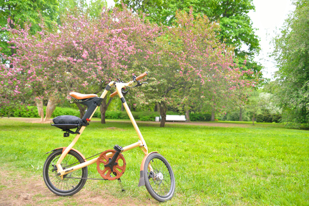 ST.PETERSBURG, RUSSIA - 20 MAY, 2016: Bicycle Strida in summer park. Strida - folding bike with a memorable frame in the shape of the letter A.