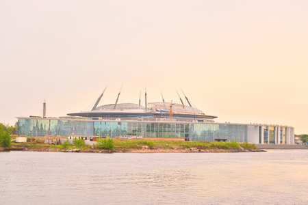 ST.PETERSBURG, RUSSIA - 20 MAY, 2016: The new Zenit Stadium at sunset. Football stadium in the Krestovsky Island which is currently under construction.